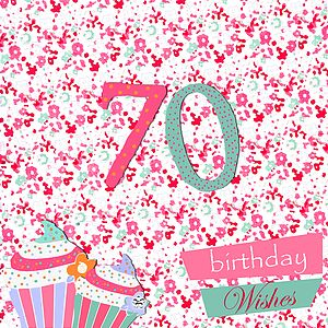 70th Birthday Card With Crystal Gem