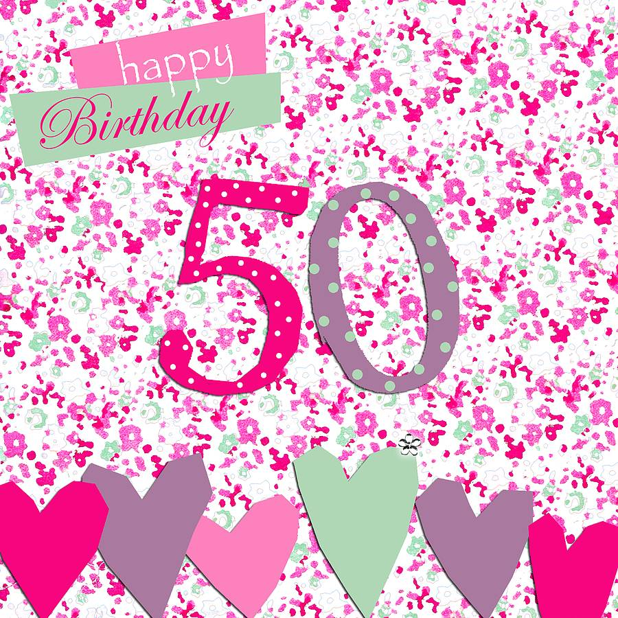 50th Birthday Card With Crystal Gem By Sabah Designs