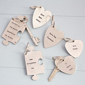 Personalised Jigsaw/Heart/Plectrum Key Ring - gifts for him