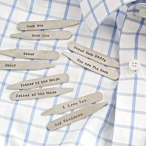 Personalised Hand Stamped Collar Stiffeners - men's accessories