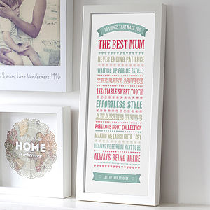 Personalised '10 Things' Best Mum Print - gifts from older children