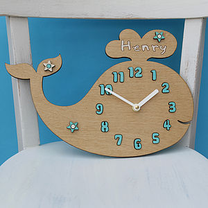 Personalised Whale Wall Clock - baby's room