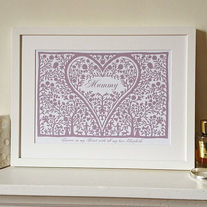 Personalised Mummy Love Heart Print
