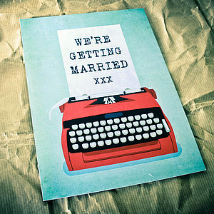 Typewriter Themed Retro Wedding Invitation