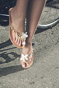 Jasmine Hand Embellished Leather Sandals - summer footwear