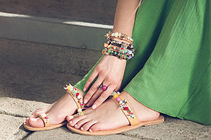 Tulip Toe Ring Handmade Leather Sandals - shoes