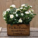 Silk Spray Rose Plants In Wooden Planter