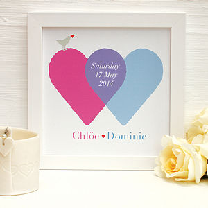 Personalised Wedding Entwined Hearts - pictures & prints for children