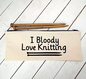 I Bloody Love Knitting Knitting Needle Bag - kitchen accessories