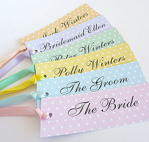 Spotty Personalised Name Tags - wedding stationery