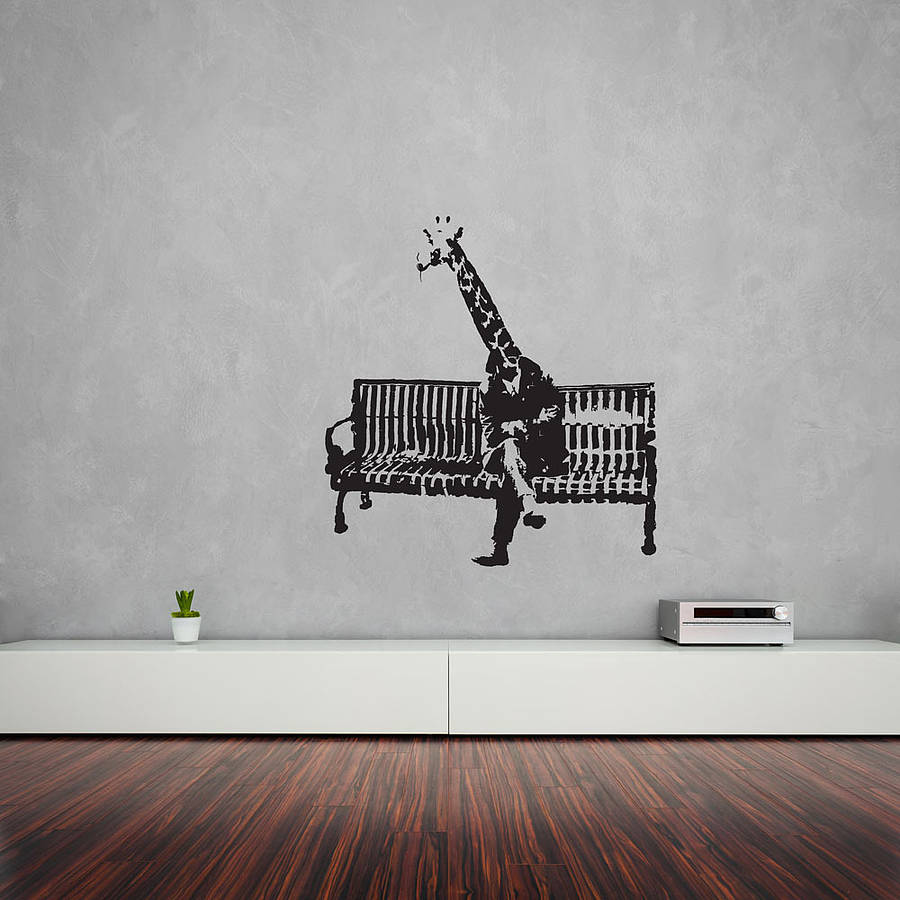 Banksy giraffe on bench vinyl wall art decal by vinyl for Wall artwork paintings