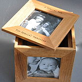 Personalised Oak Photo Cube Keepsake Box - prints & art