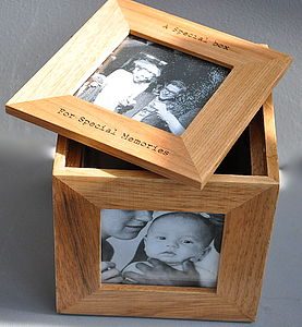 Personalised Oak Photo Cube Keepsake Box - by year