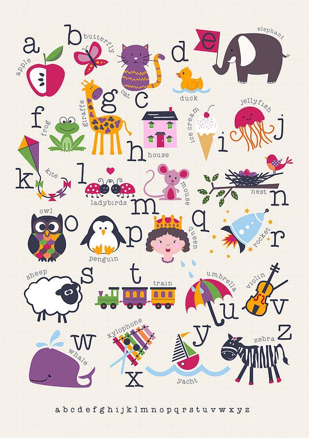 children\'s alphabet print personalised by wink design ...