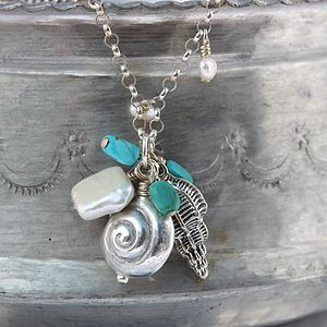 Silver Seashell Charm And Turquoise Necklace - necklaces & pendants