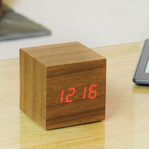 LED Teak Cube Alarm Clock - living room