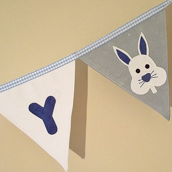 Close up of Bertie Bunny Bunting (blue)
