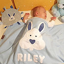 Personalised Bertie Bunny Blanket and Taggy Comforter