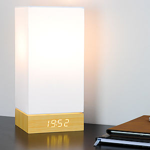 Beech Click Clock Lamp / White LED - bedside lamps
