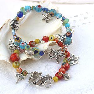 Millefiori Bead And Silver Charm Bracelet - women's jewellery