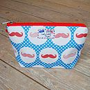 Polkadot Moustache Makeup Toiletry Wash Bag