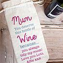 Personalised Bottle Bag For Mum