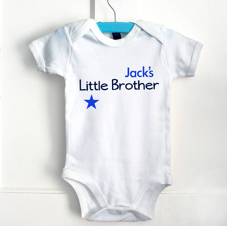 Description. Our Blue and white Brother T shirt and baby grow set, makes the perfect personalised gift for two very special little boys. Perfect for Birthdays, joint parties, a new arrival, or ciproprescription.ga set makes a great gift!