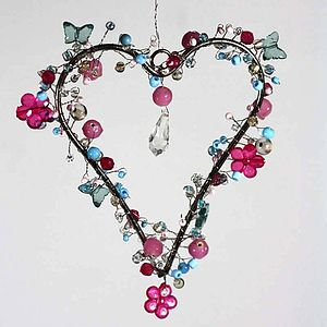 Pink And Blue Butterfly And Flower Heart - home accessories