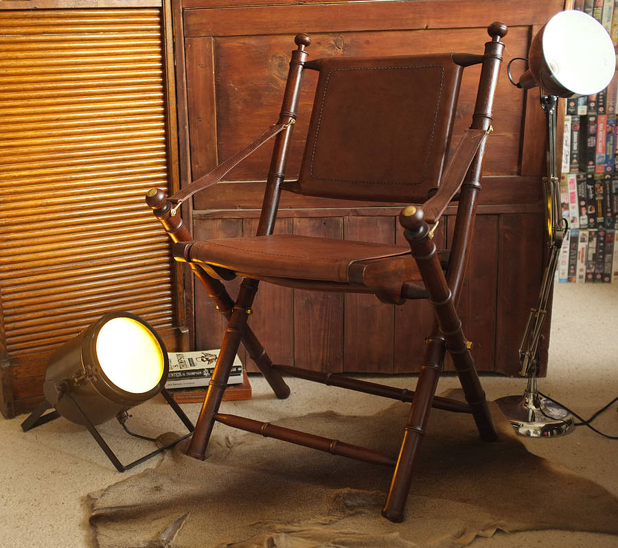 colonial cowhide leather and teak study chair by cambrewood