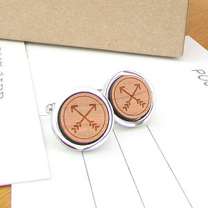 Wooden Together Forever Crossed Arrow Cufflinks