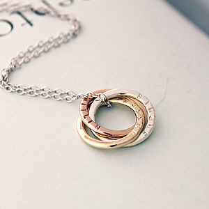 Personalised 9ct Mixed Gold Russian Ring Necklace - 40th birthday gifts
