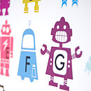 Personalised Children's Robot Alphabet Print