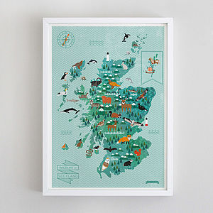 Wildlife Map Of Scotland Print