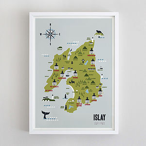Map Of Islay Whisky Distilleries Print - posters & prints
