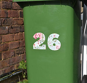 Floral Wheelie Bin Number Stickers - wall stickers