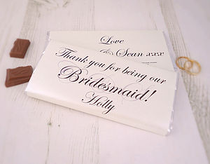 Personalised Bridesmaid Chocolate Bar - wedding thank you gifts