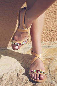 Hibiscus Open Toe Hand Embellished Leather Sandals
