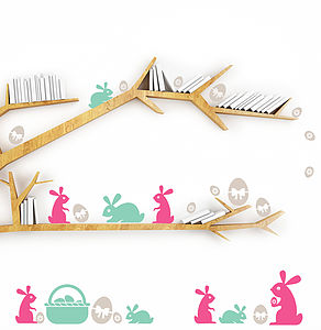 Bunnies Easter Egg Hunt Wall Stickers - children's decorative accessories