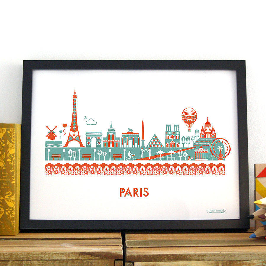 paris skyline print by kate mclelland shop. Black Bedroom Furniture Sets. Home Design Ideas