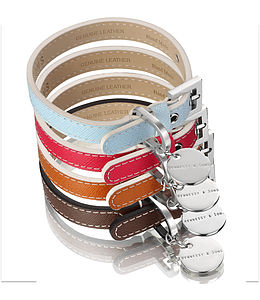 Saffiano Leather Dog Collar, With Personalisable Tag - walking