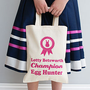 Personalised Egg Hunter Easter Shopper Bag - easter holiday outdoor play