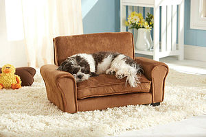 Tan Luxury Sofa Chair Style Raised Dog Bed - dogs