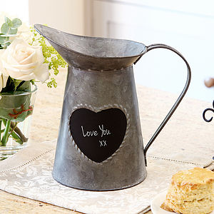 10th Anniversary Tin Heart Message Jug