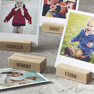 Personalised Family Tree Wooden Photo Block - picture frames
