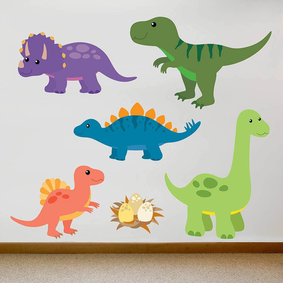children s dinosaur wall sticker set by oakdene designs