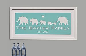 Personalised Framed Elephant Family Print
