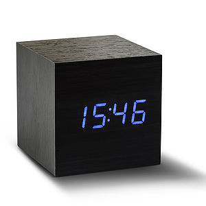 Cube Black Click Clock - living room
