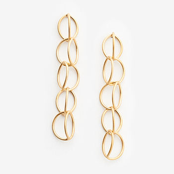 18Ct Gold Vermeil Long Lily Earrings