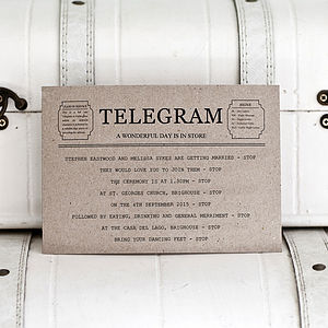 Telegram Style Wedding Invitation And Rsvp - wedding stationery