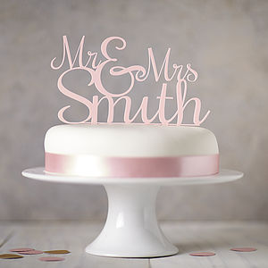 Personalised 'Mr And Mrs' Wedding Cake Topper - mint, blush & gold